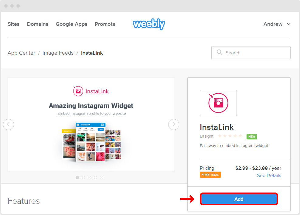 Add Instagram Widget to Weebly