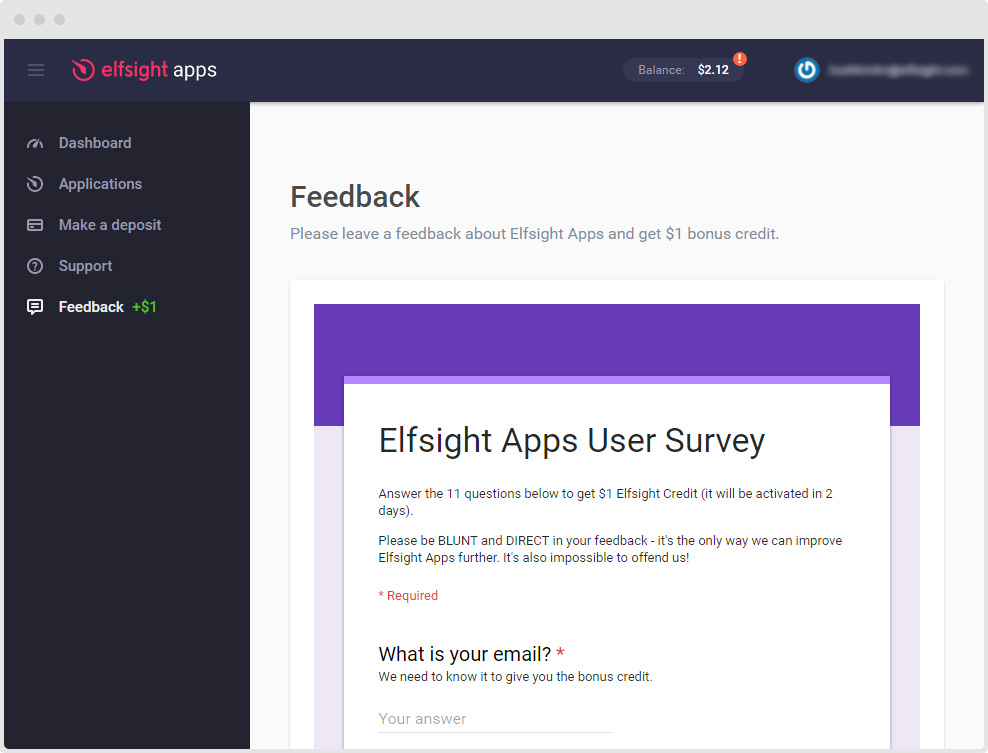 Elfsight Apps Feedback