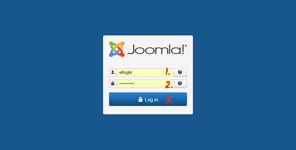 Authorize in Joomla panel