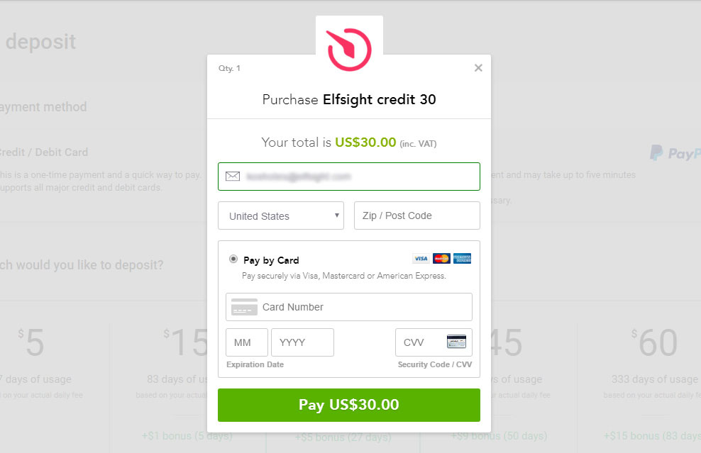 Elfsight Apps Card Payment