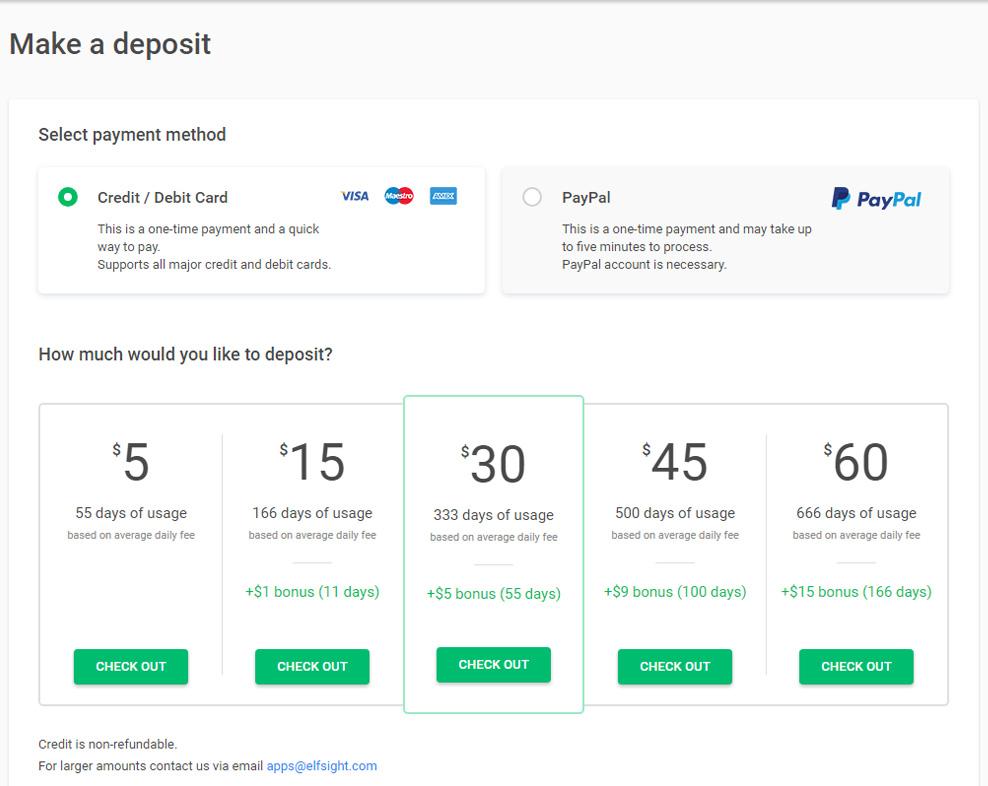 Elfsight Apps Make Deposit