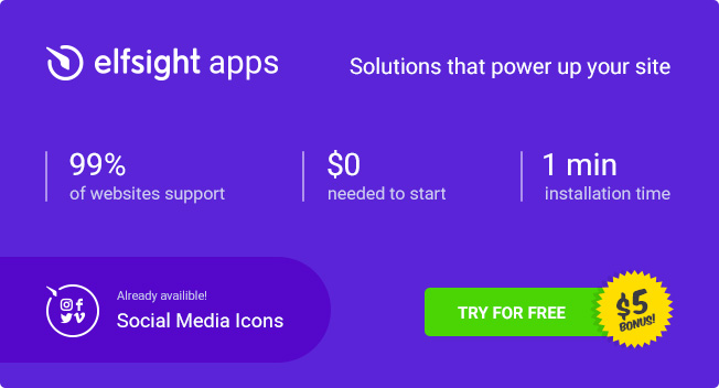 Elfsight Apps Social Media Icons Banner