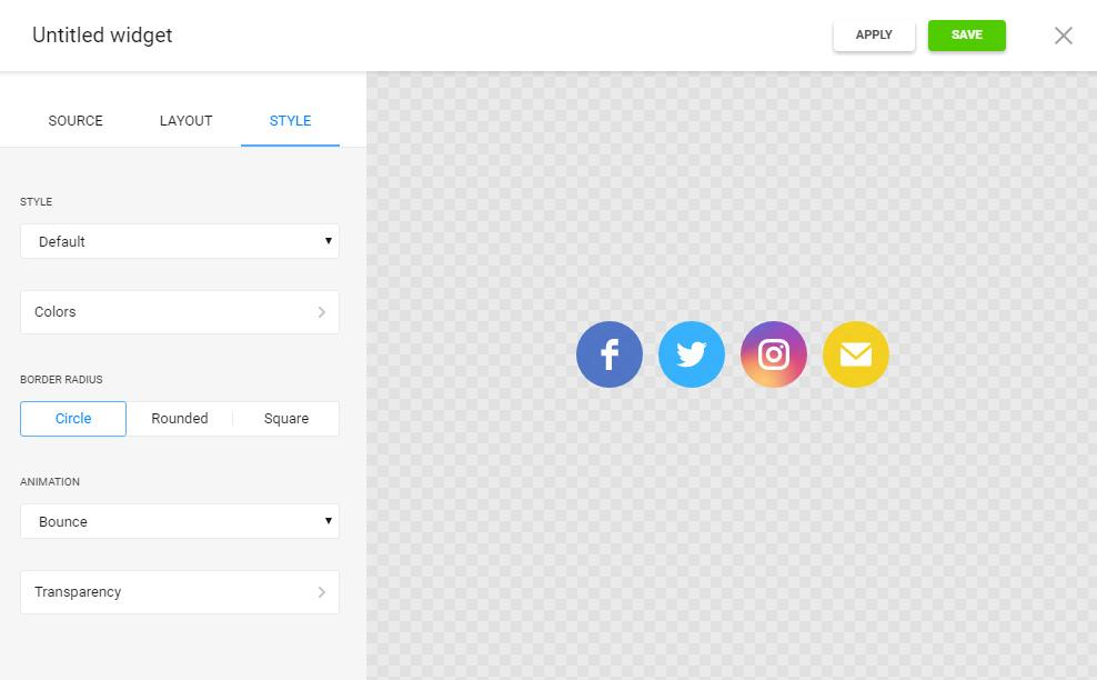 Social Media Icons Editor