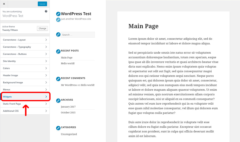 Press Widgets Section