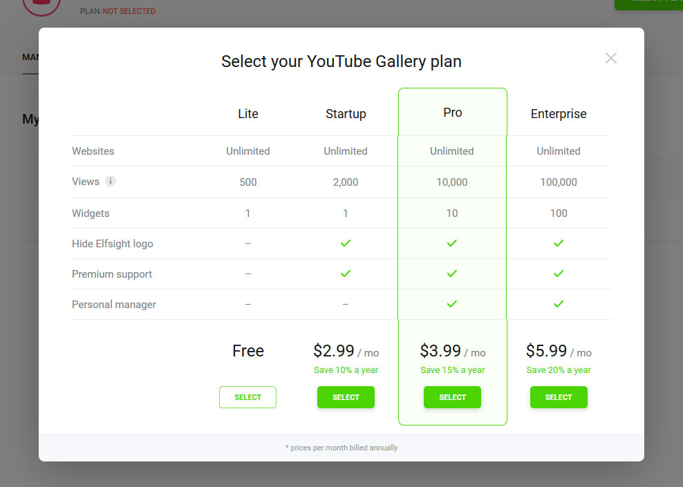 Choose the best YouTube gallery plan
