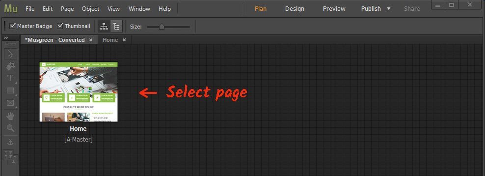 Log in the Adobe Muse