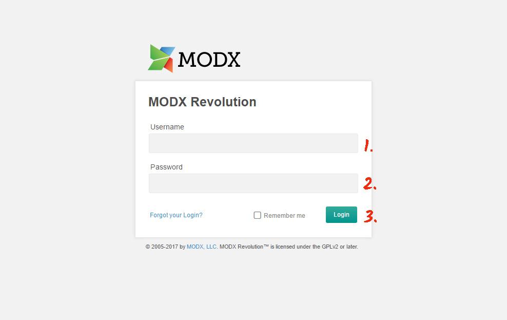 Log in ModX editor