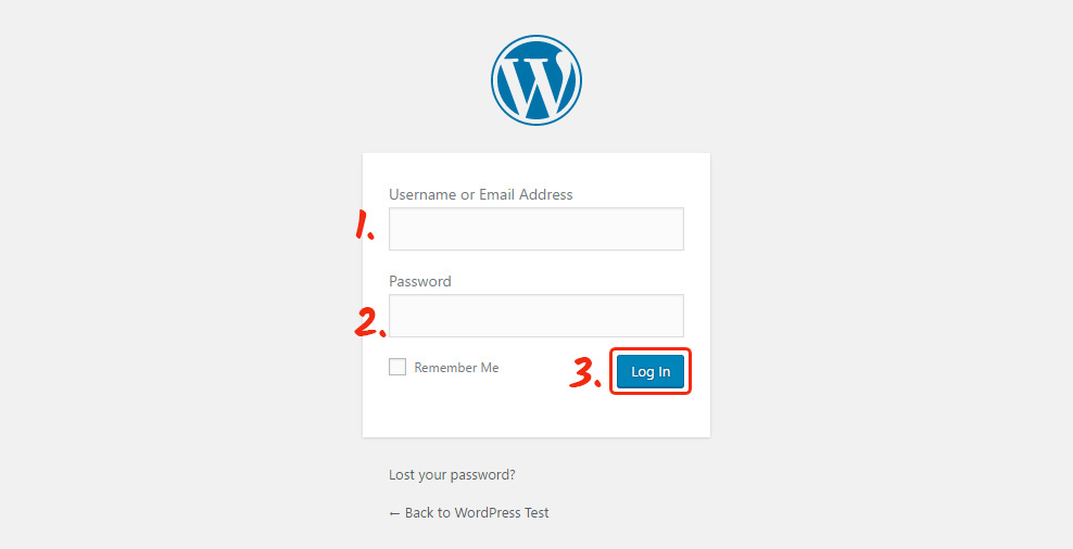 log in the WordPress panel