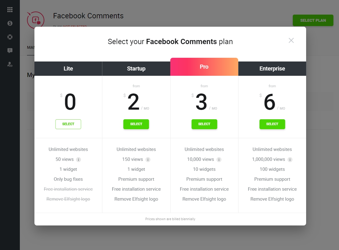 Select your Facebook Comments module plan