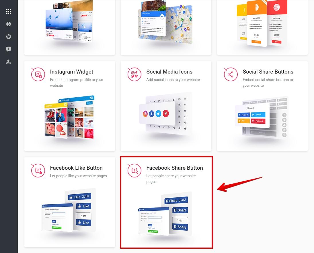 Select Facebook Share Button module