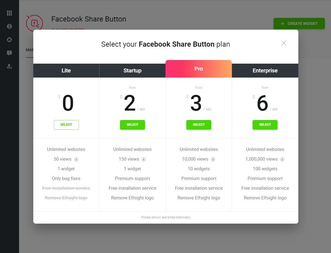 Select your Facebook Share Button module plan