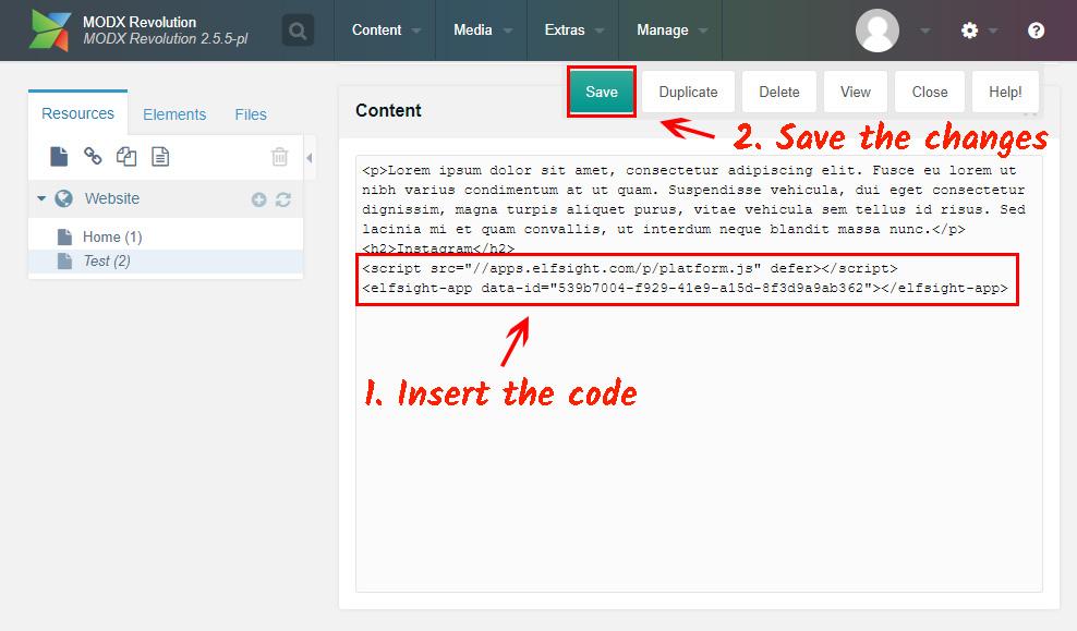 insert the installation code