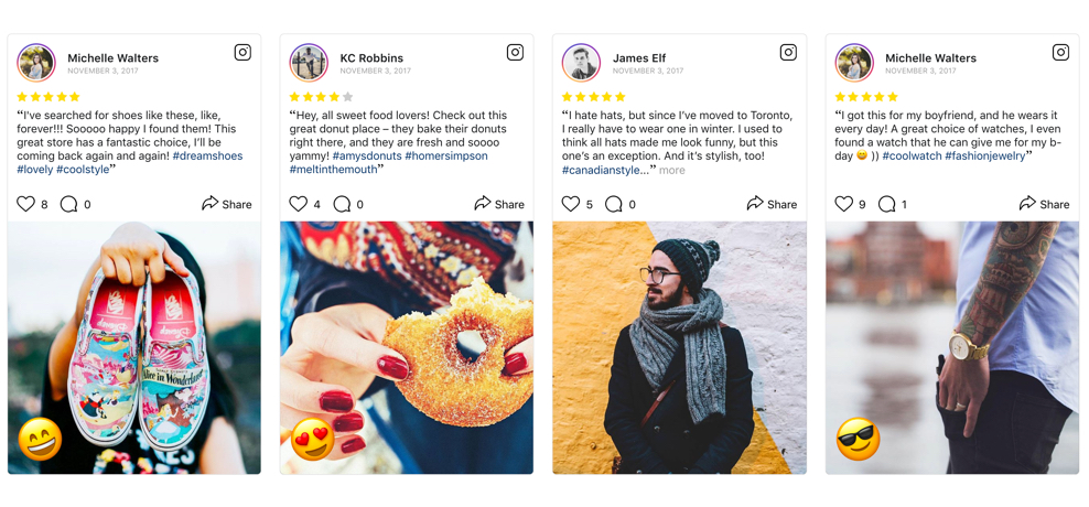 Examples of Instagram testimonials