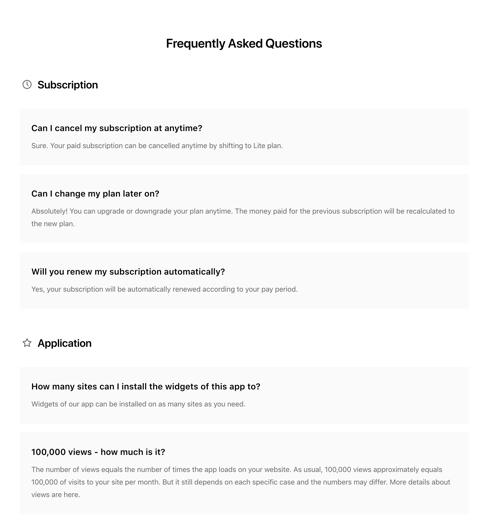 Liste de la mise en page de la FAQ