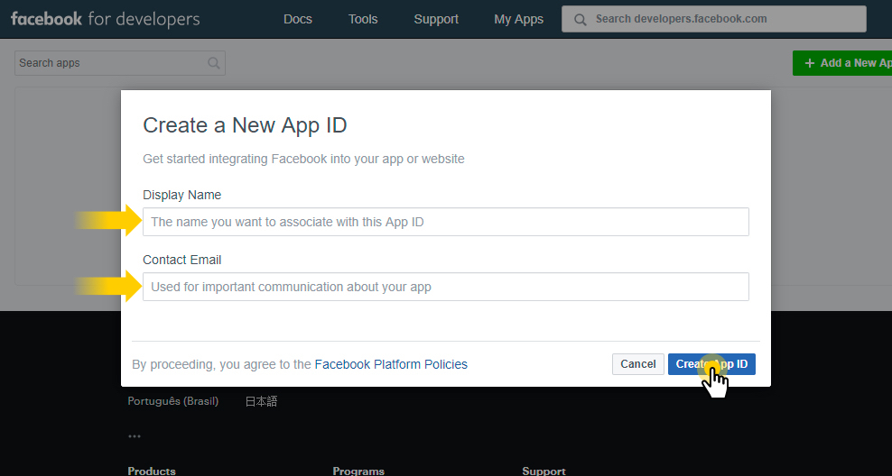 Create a new Facebook App ID
