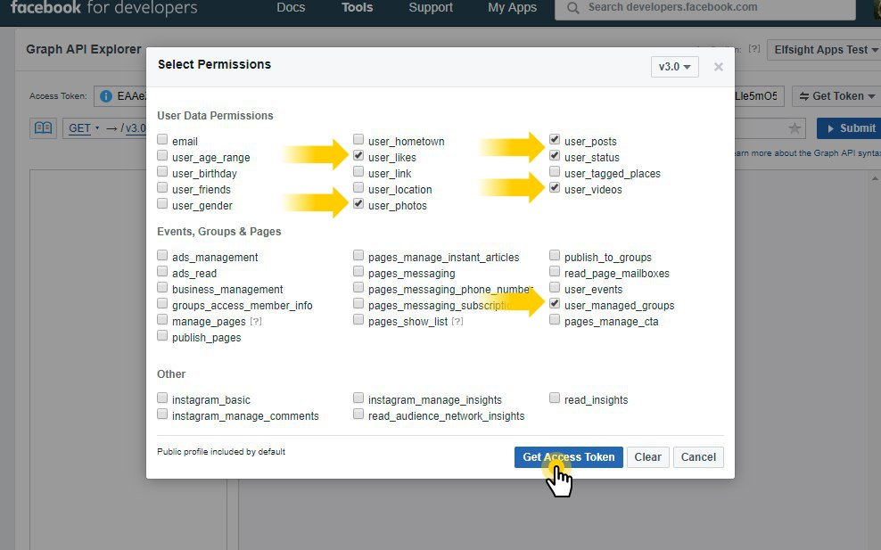 Permissions to display your Facebook profile
