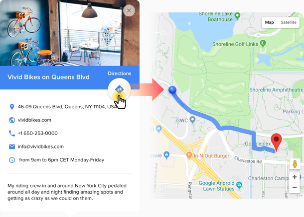 Google Map directions widget