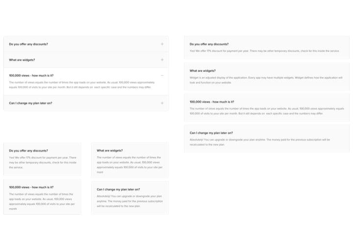 Various FAQ blocks view