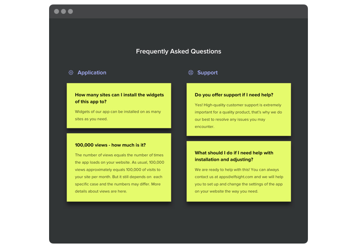 The example of colored FAQ block for website