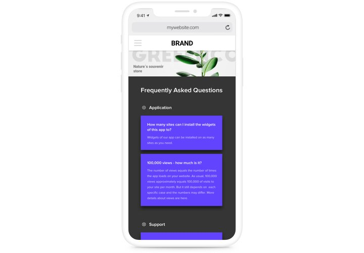 FAQ block view on a smartphone
