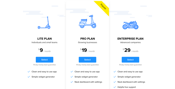Pricing Table widget for website