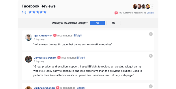 Share customer reviews from your Facebook page on your website
