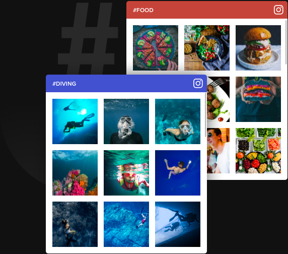 Adding photos by hashtags