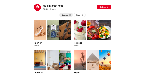Pinterest Feed <br>widget for Website