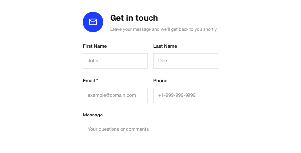 Website Contact Form widget