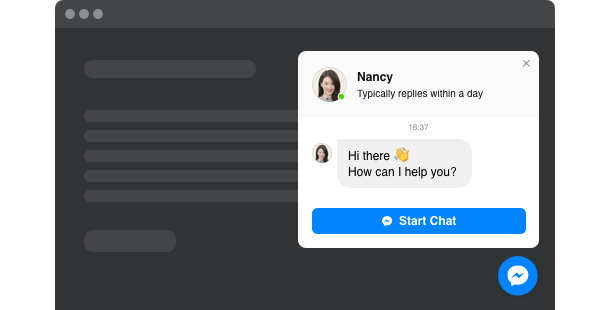 Let users contact you directly via Facebook Messenger right on your website