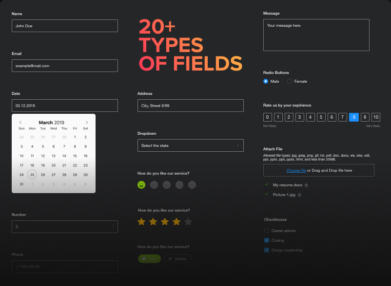 Flexible fields configuration
