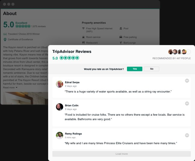 Tripadvisor Reviews widget for website in 2 minutes (free and fast)