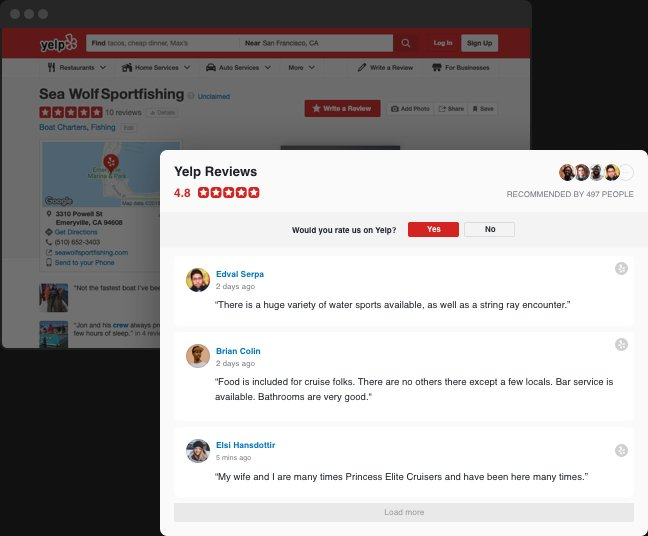 From Yelp to your website. In a click.