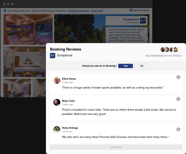 Show what your guests say on your website