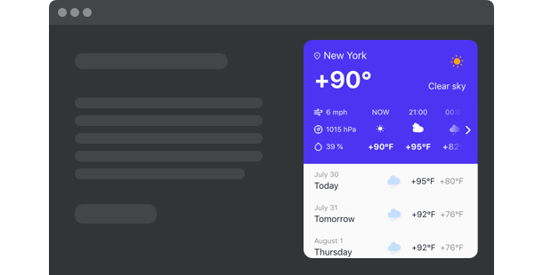 Weather<br> widget for website
