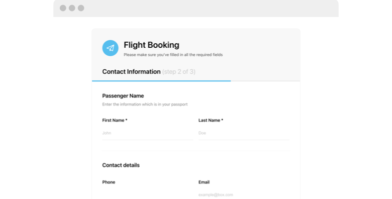 Flight Booking Form
