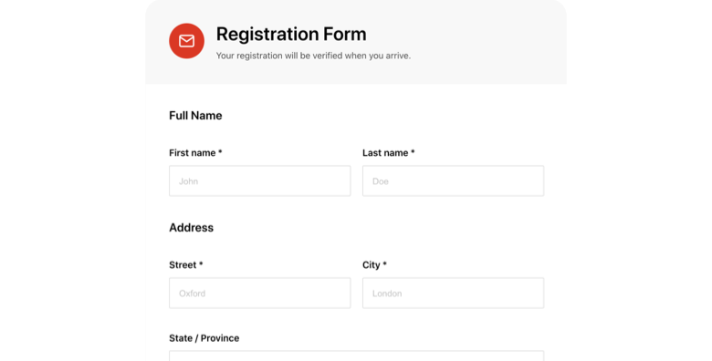 Hotel Guest Registration Form