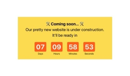 Coming soon timer for landing page template