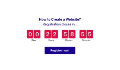 Registration countdown timer template