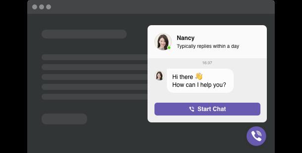 Viber Chat<br> widget for website