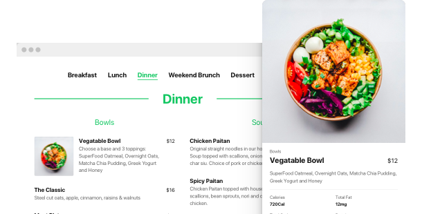 Make your restaurant web site menu builder