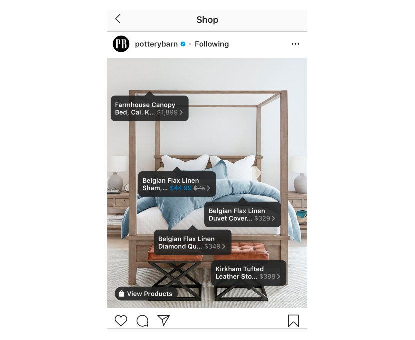 An Instagram post with shopping tags