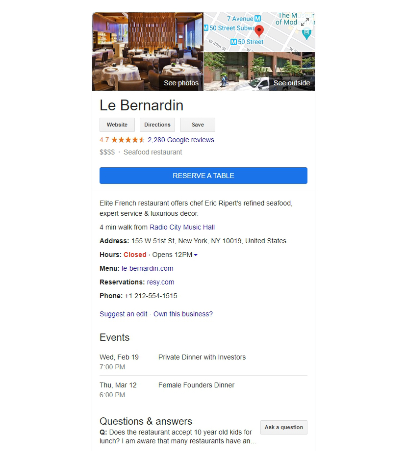 rich snippets local business