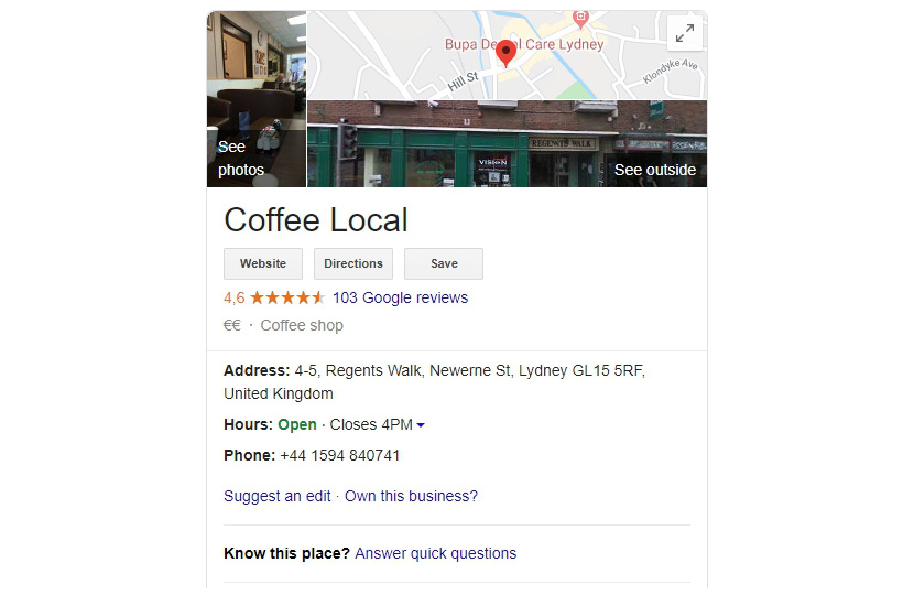 rich local business snippet example