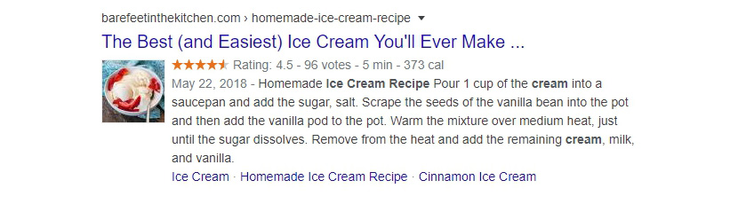 rich snippet in google search