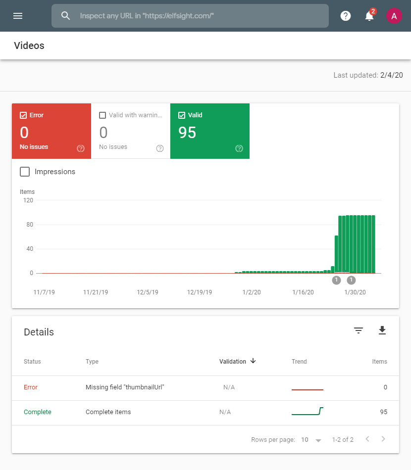 google Search console to find warnings in video schema.