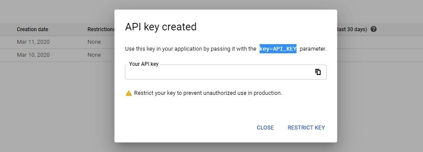 Google Cloud Platform console get API key