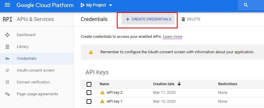Google Cloud Platform console create credentials