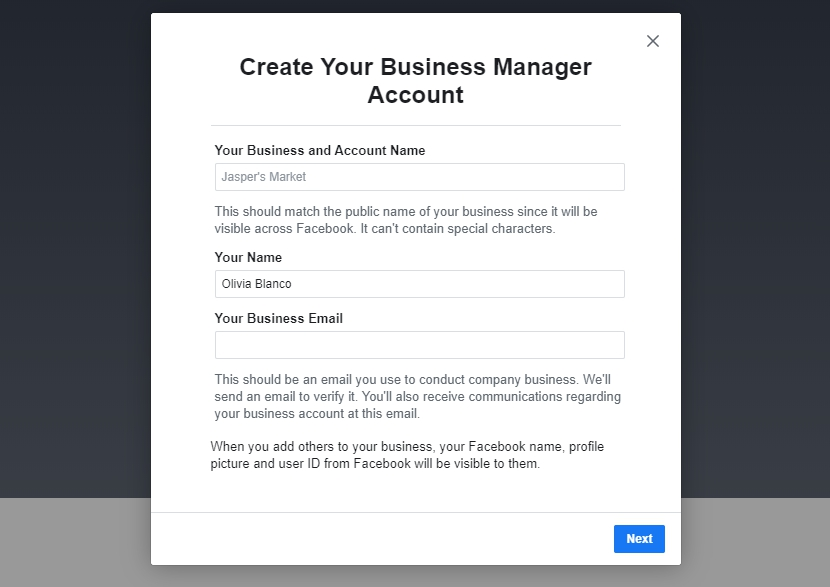 Account in Facebook Buisness Manager