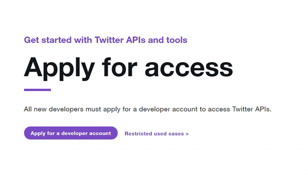Applying for a Twitter developer account